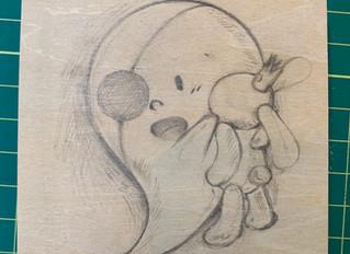 おばけちゃんをパネルに描いてみた