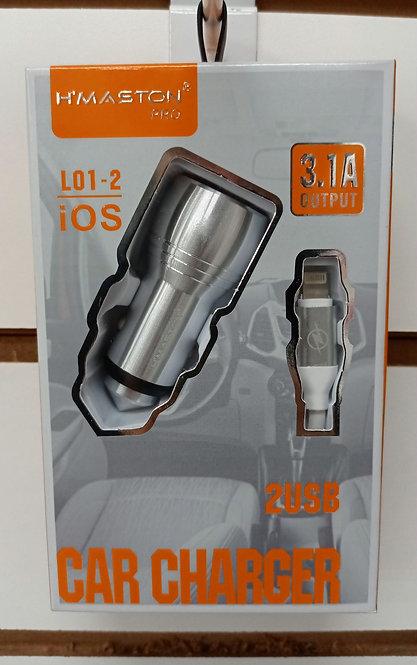 Carregador H'Maston Veicular Prata 2 USB + Cabo iPhone/iPad Lightning