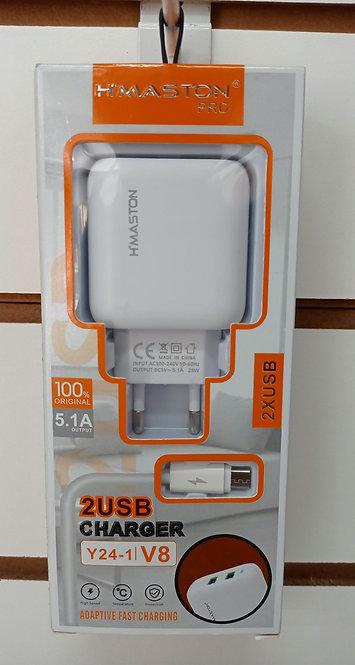 Carregador H'Maston 2 USB +Cabo USB V8/Micro USB