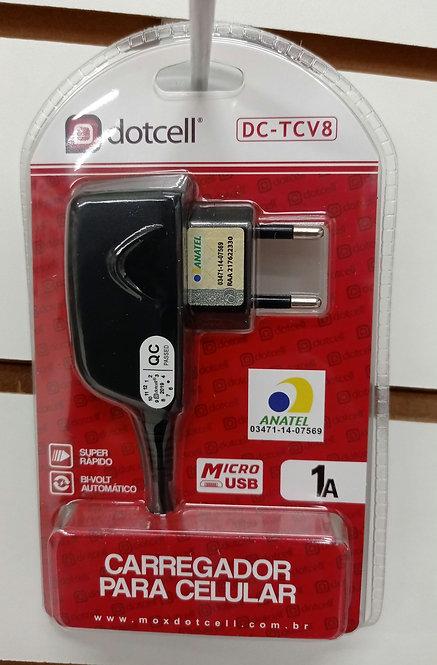 Carregador Dotcell com cabo embutido V8/MicroUSB