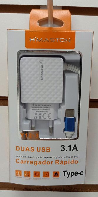 Carregador H'Maston 2 USB com cabo embutido Tipo C