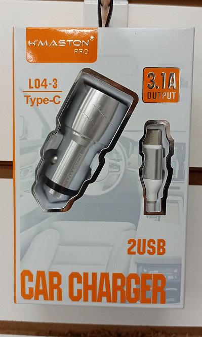 Carregador H'Maston Veicular Prata 2 USB + Cabo Tipo C