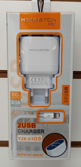 Carregador H'Maston 2 USB + Cabo iPhone