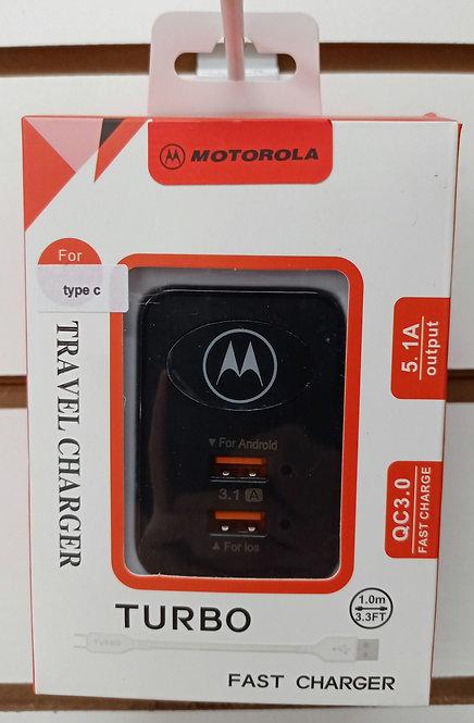 Carregador Preto Motorola 2 USB + Cabo Tipo C