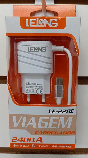 Carregador Lelong 2 USB com cabo embutido Tipo C
