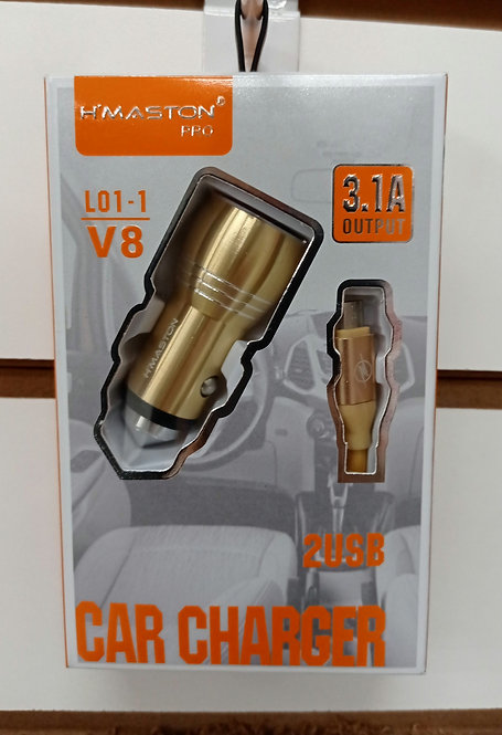 Carregador H'Maston Veicular Dourado 2 USB + Cabo V8/MicroUSB