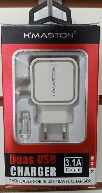 Carregador H'Maston 2 USB com cabo embutido iPhone