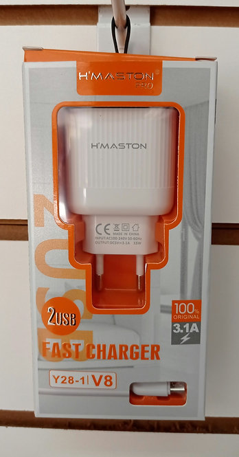 Carregador H'Maston 2 USB + Cabo V8/MicroUSB