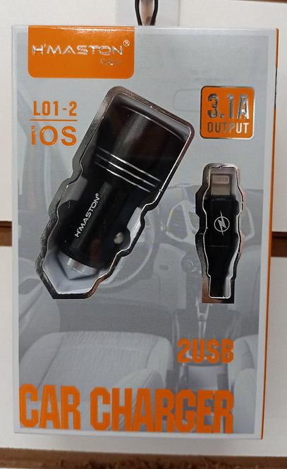 Carregador H'Maston Veicular Preto 2 USB + Cabo iPhone/iPad Lightning