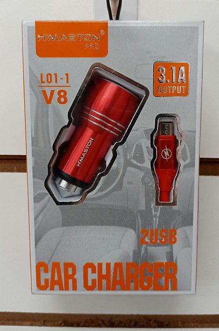 Carregador H'Maston Veicular Vermelho 2 USB + Cabo V8/MicroUSB