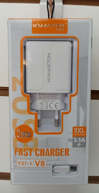 Carregador Branco H'Maston 2 USB + Cabo V8/MicroUSB