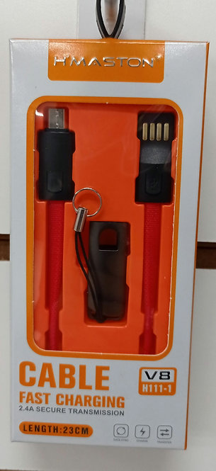 Cabo chaveiro H'Maston Vermelho V8/MicroUSB 23cm