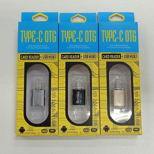 Adaptador OTG tipo C para leitor de cartão Micro SD