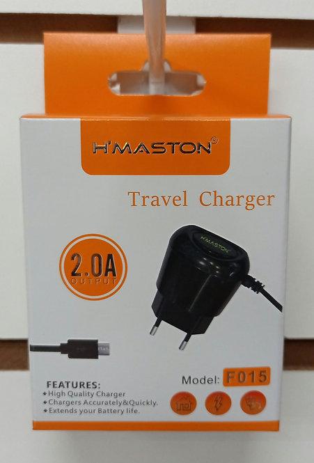 Carregador H'Maston com cabo embutido V8/MicroUSB