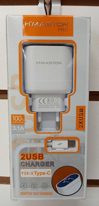 Carregador H'Maston 2 USB + Cabo Tipo C