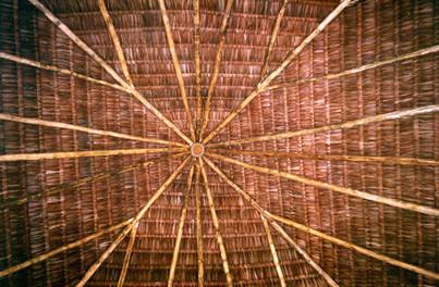 Rustic beach restaurant roof