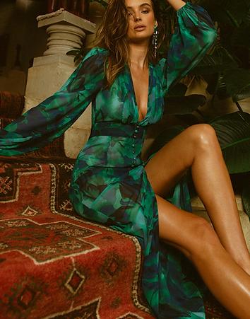 Calista - Green Floral Midi Dress