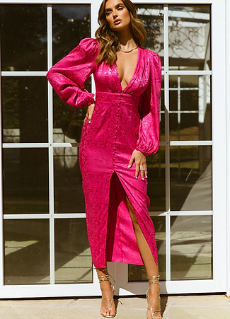 Roxanne Midi Dress -Fuschia