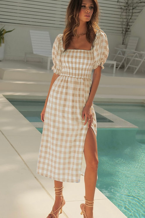 Brianne Midi Dress - Sand Check