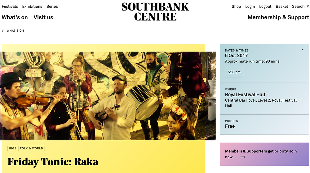 I will be singing with my Balkan band RAKA at Central Bar Foyer, Level 2, Royal Festival Hall