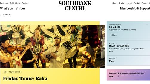 Friday 6th October at Southbank Centre, London