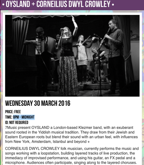 OYSLAND - Wednesday 30th March 2016 at Hootananny / Brixton