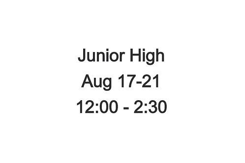 Junior High Indoor Camp August 17-21, 12:00 - 2:30 PM