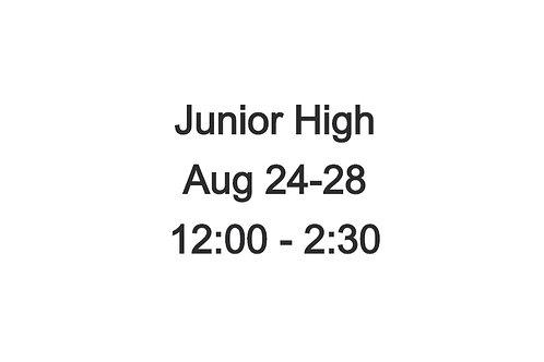Junior High Indoor Camp August 24-28, 12:00-2:30 PM