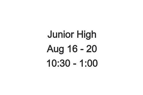 Junior High Indoor Camp August 16-2, 10:30-1:00