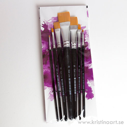 7-pack platta penslar