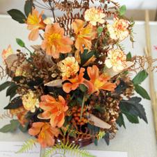 Floral arrangement with wood