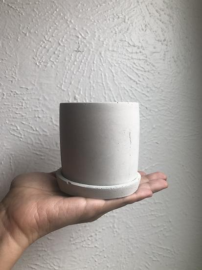 """3"""" Concrete planter with saucer"""
