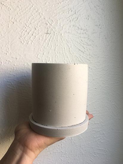 """4.5"""" concrete planter with saucer"""
