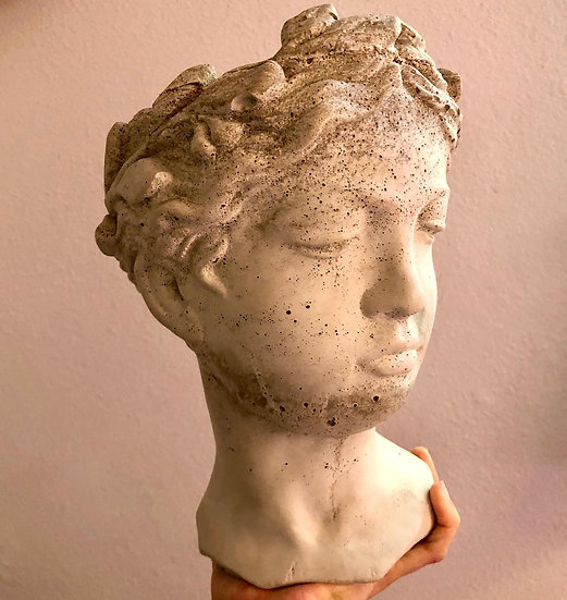 """Handmade 9"""" tall Goddess cement planter"""
