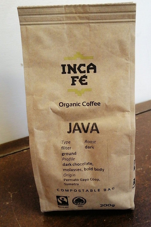 IncaFe Organic Filter Ground Coffee Beans - Java 200g