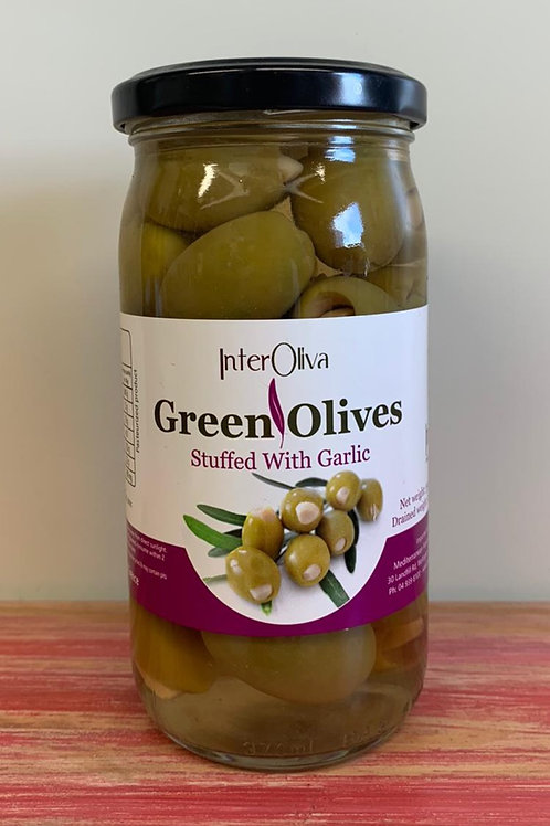 Interoliva - Green Olives stuffed with garlic - 350g