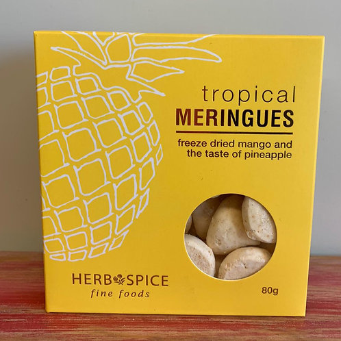 Tropical meringues - freeze dried mango and the taste of pineapple