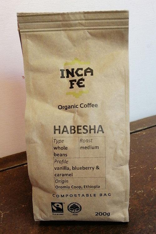IncaFe Organic Whole Coffee Beans - Habesha 200g