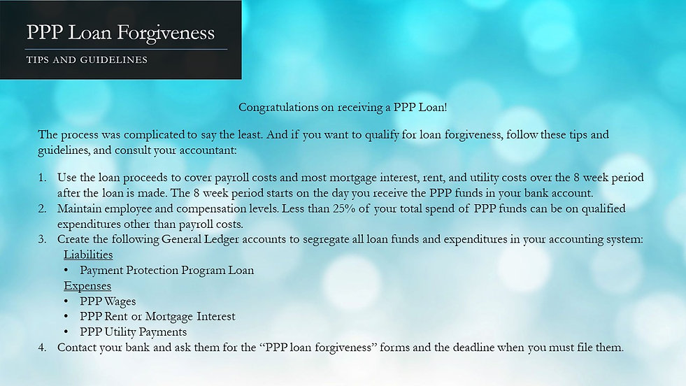PPP Loan Forgiveness Tips and Guidelines