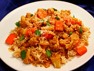 Cauliflower, Carrots, Coconut & Coriander over Coconut Basmati Rice!