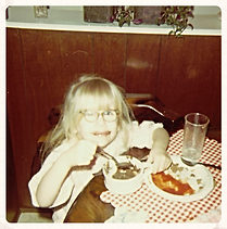 Little foodie with chocolate pudding!
