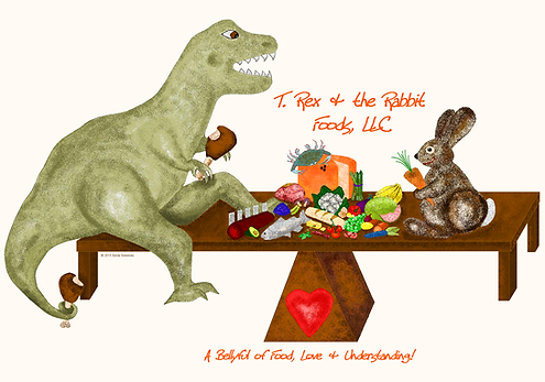 The logo of a T. Rex and a Rabbit sitting together at the same table sharing a meal together with love and understanding!