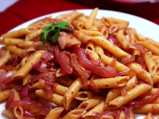Pasta in Red Wine & Onion Sauce