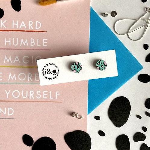 Leopard Hand-Painted Wooden Earrings