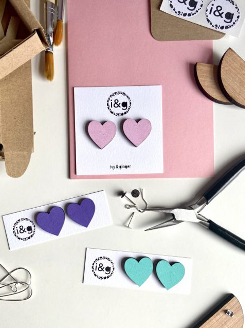 Heart Hand-Painted Wooden Earrings
