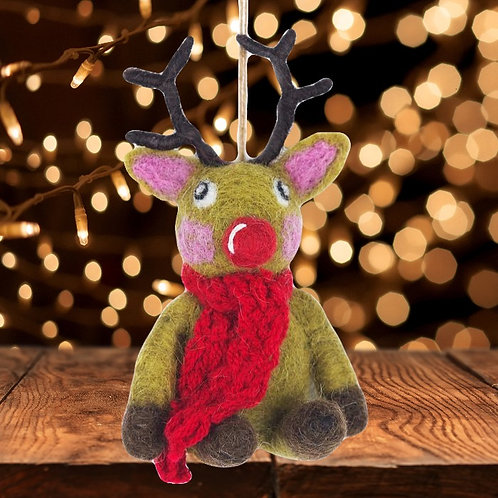 Felt Reindeer & Scarf Decoration