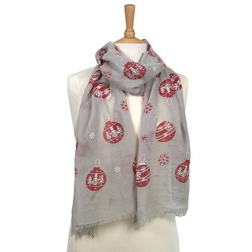 Bauble Red & Grey Scarf