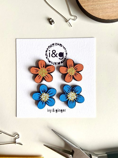 Daisy Pair Hand-Painted Wooden Earrings