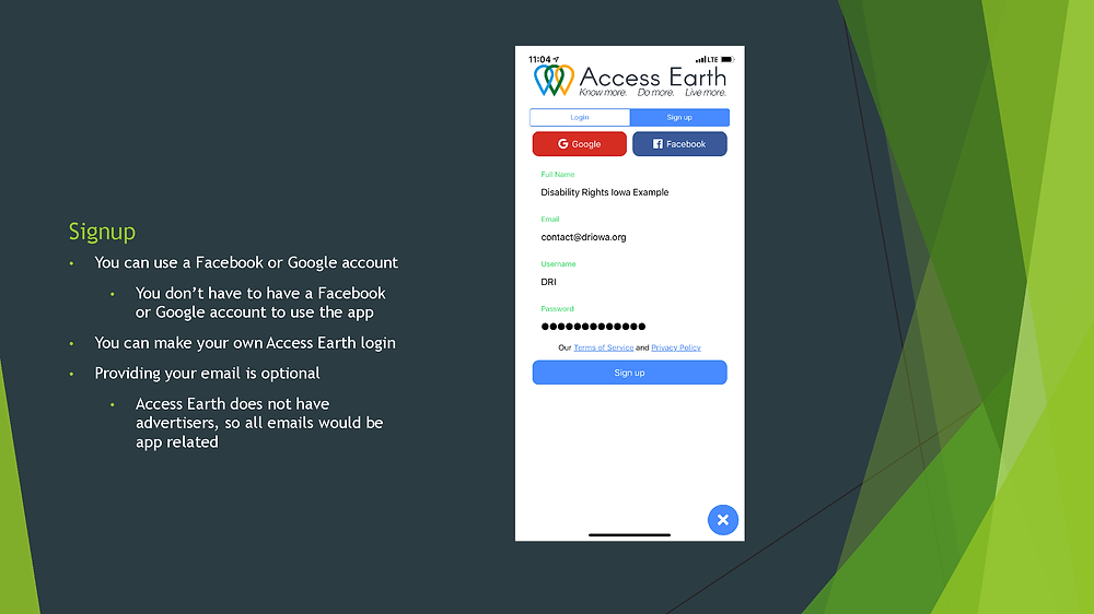 Second slide: Signup; You can use a Facebook or Google account, or make your own Access Earth login, but it isn't required.  Providing your email is optionall
