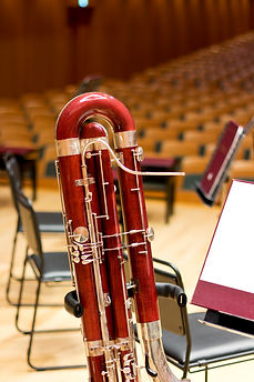 Bassoon in a large concert hall. Woodwin